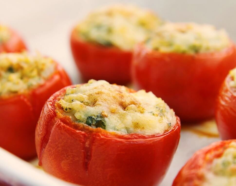 Stuffed Tomatoes with Pesto Sauce