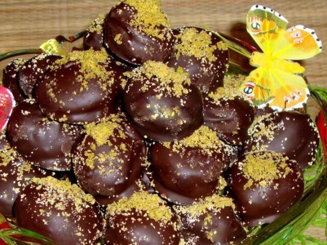 chocolate dried apricots with marzipan