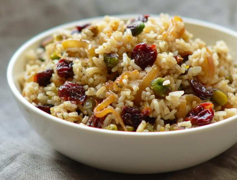Rice Pilaf with Caramelized Onion, Orange, Cherry & Pistachio Photo 1