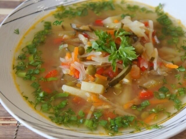 Cabbage Soup with Pickled Cucumbers