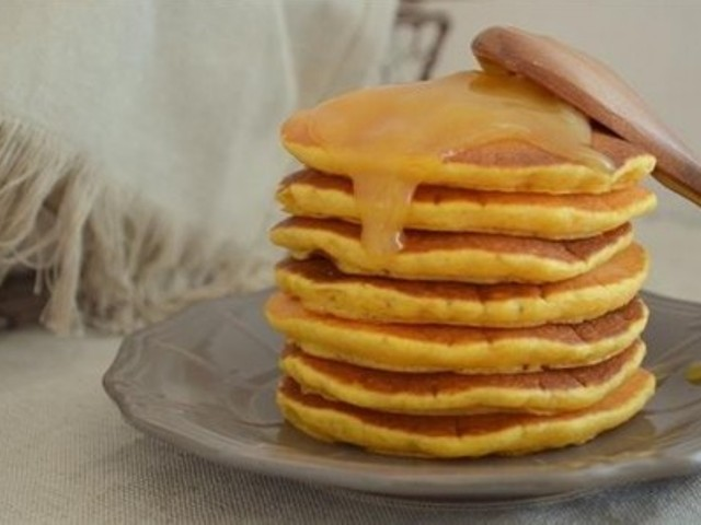 Pumpkin Pancakes with Caramel Syrup Photo 1