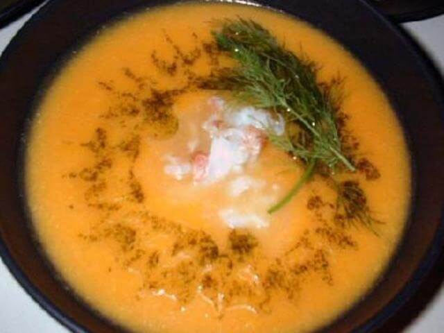 butternut squash soup with lobster