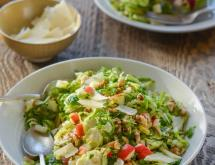 Brussels Sprout Salad with Apples, Walnuts & Parmesan