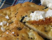 Focaccia with Spices, Garlic and Black Olives