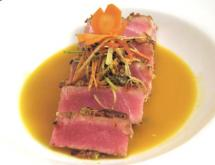 carrot and wasabi crusted yellowfin tuna
