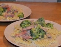 Fusilli with Ham and Brocolli