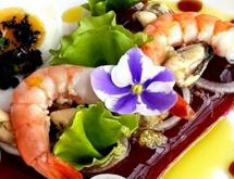 Seafood Salad on the Beetroot Jelly