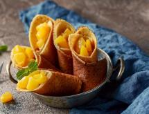 Healthy Corn and Rice Pancakes with Peaches