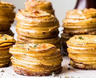 crispy parmesan potato stacks