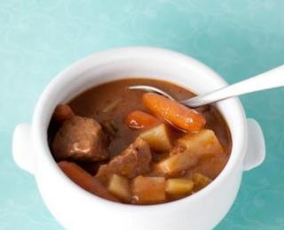 beef soup with vegetables in a crock pot