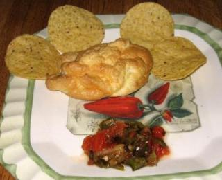 jalapenos rellenos with roasted chili salsa