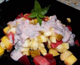 Fruit Salad with Yoghurt and Cranberry Sauce