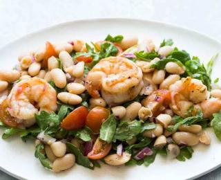 shrimp, arugula, white bean and cherry tomato salad
