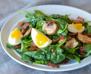 Step 9 - Spinach Salad with Warm Bacon Dressing