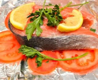 Salmon Steak in a Foil