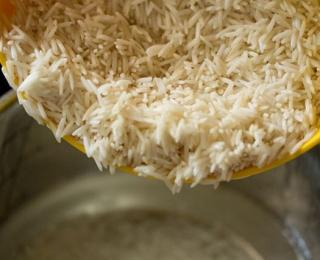 basmati rice in a pot