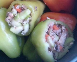 vegetarian stuffed peppers in the slow cooker