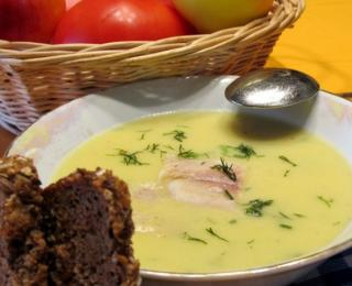 potato cream soup with horseradish and smoked trout