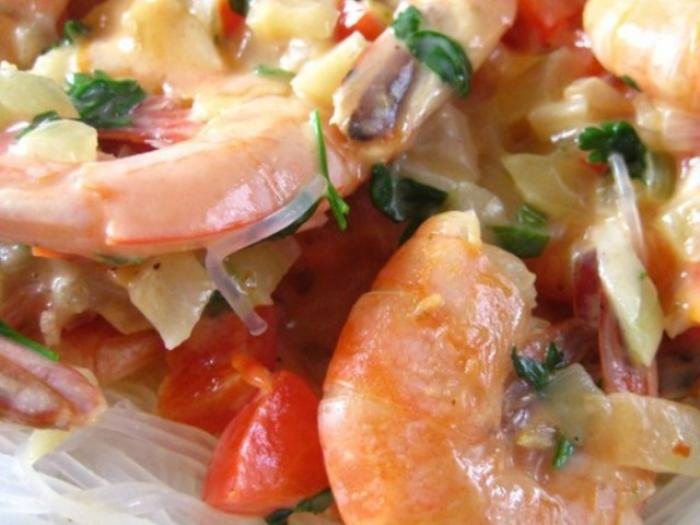 """Flambe"" Shrimps in the Cream Sauce"
