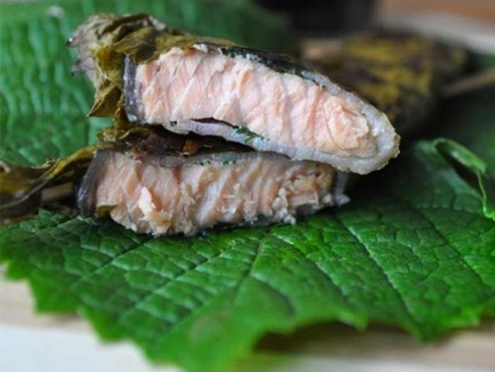 Grilled Salmon in Vine Leaves