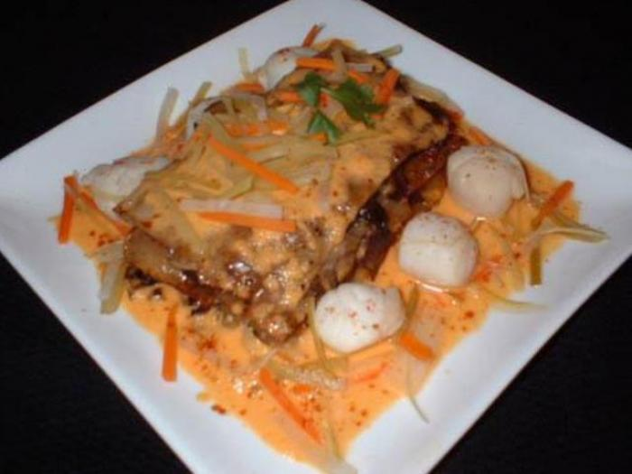 potato and mushroom lasagna with scallops and nage