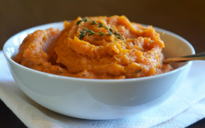 Mashed Sweet Potatoes with Maple & Thyme