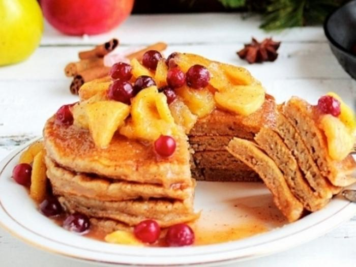 Pancakes with Candy Apples and Cranberry